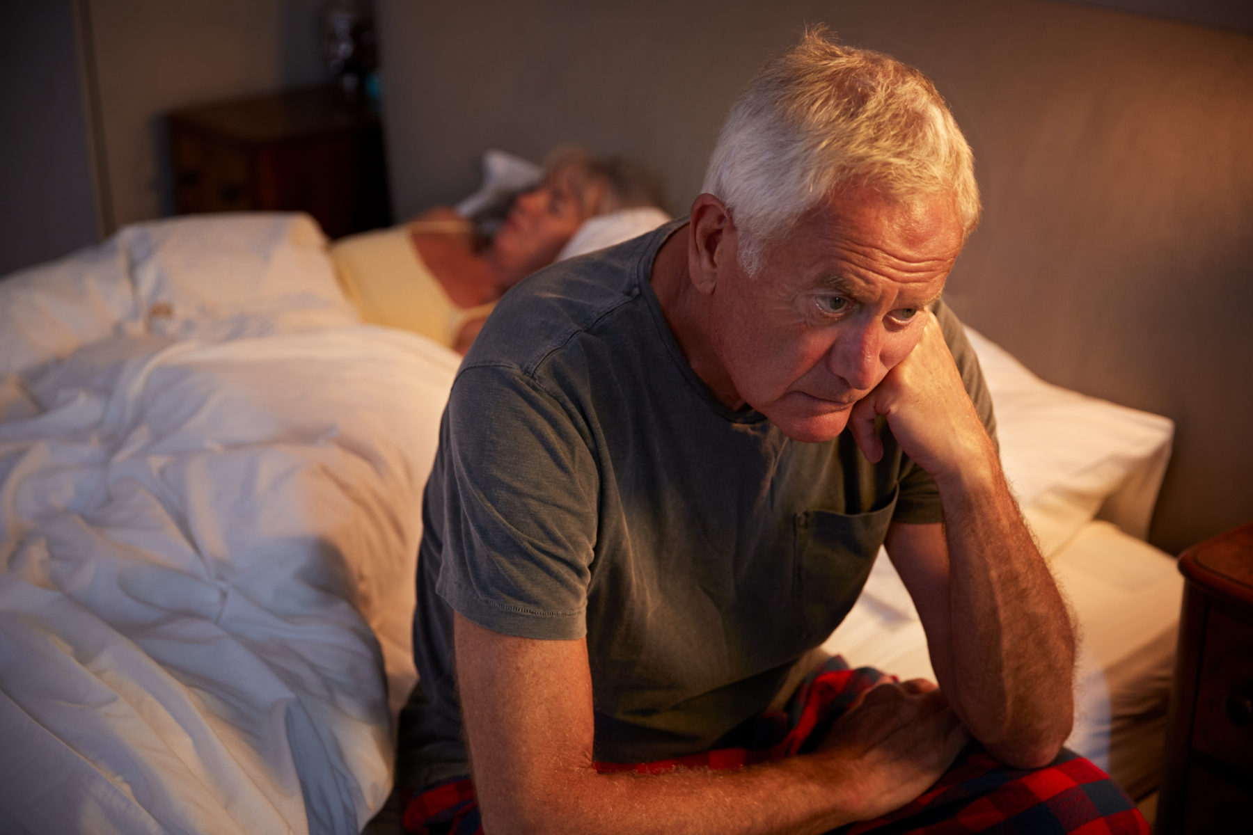 Mature man awake at night with prostate problems